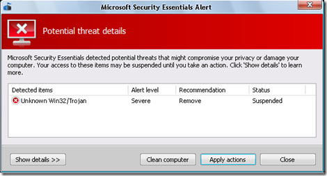 Microsoft Security Essentials Alert 01