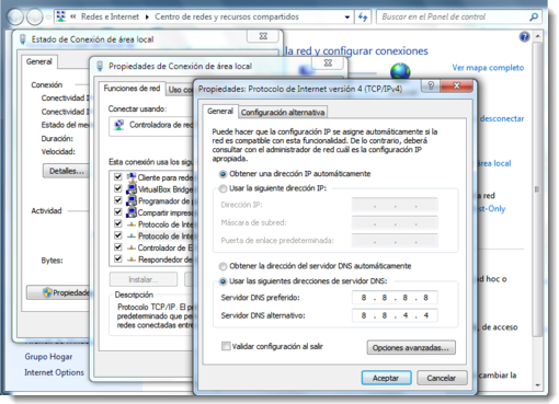 Cambiar DNSs Windows