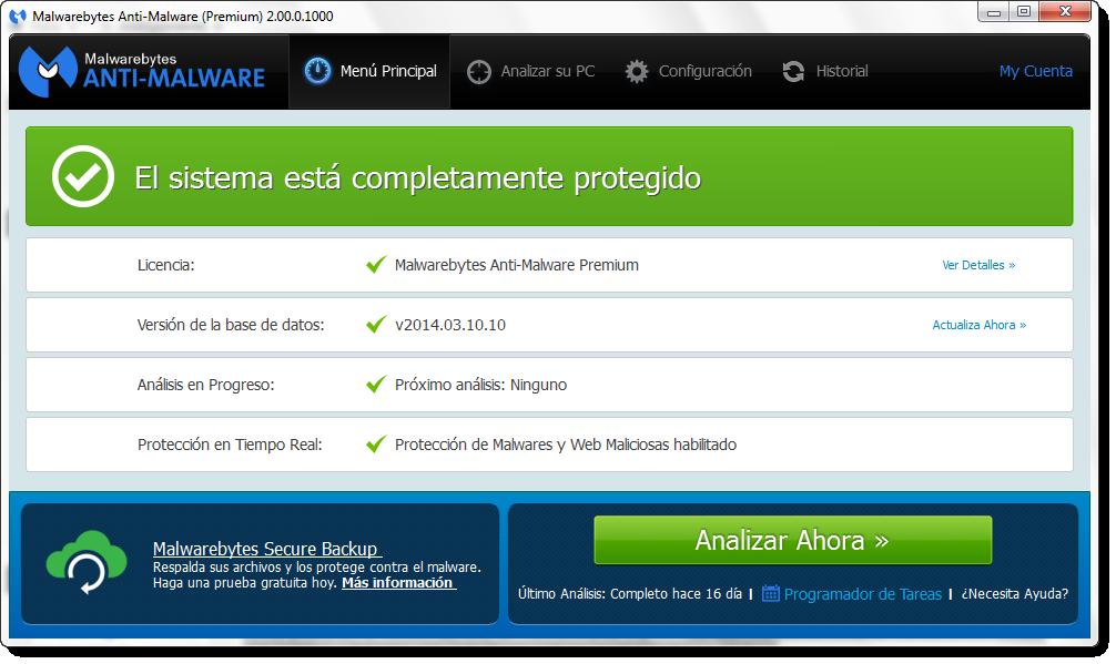 Malwarebytes Anti-Malware 2.0.3